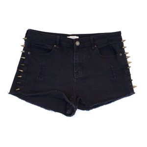 Forever 21 black mid rise spiked shorts